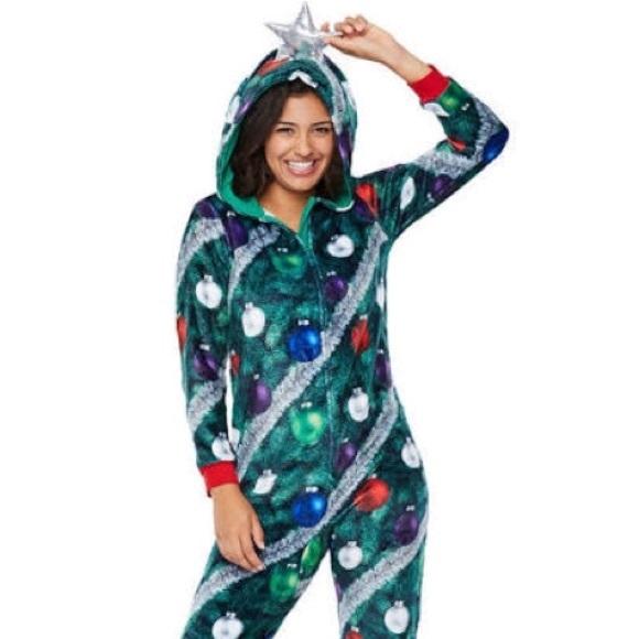 Christmas Tree Onesie.Christmas Tree Onesie Pajamas Hoodie Hooded Star